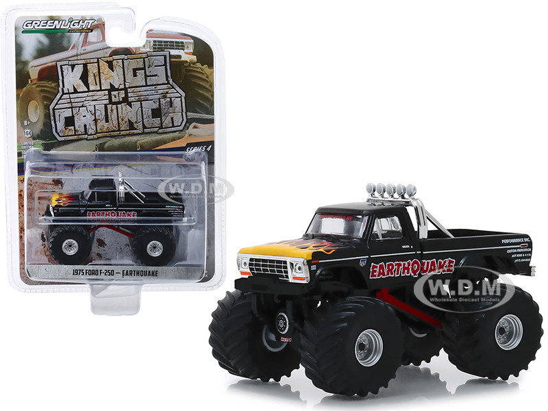 1975 Ford F-250 Monster Truck Earthquake Black with Flames Kings of Crunch Series 4 1/64 Diecast Model Car Greenlight 49040 B