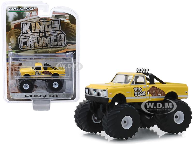 1972 Chevrolet C20 Monster Truck Big Bear Yellow Kings of Crunch Series 4 1/64 Diecast Model Car Greenlight 49040 F