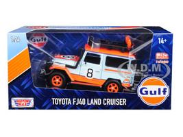 Toyota FJ40 Land Cruiser #8 Gulf Oil White Limited Edition 2400 pieces Worldwide 1/24 Diecast Model Car Motormax 79658