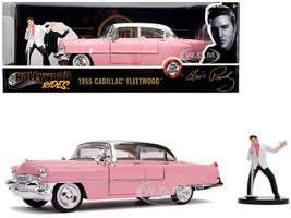 1955 Cadillac Fleetwood Series 60 Pink Elvis Presley Diecast Figurine 1/24 Diecast Model Car Jada 31007