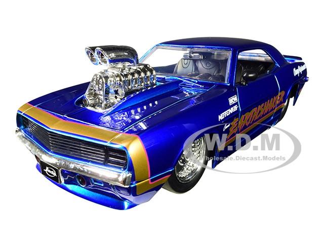 1969 Chevrolet Camaro Earthshaker Candy Blue Gold Stripe Bigtime Muscle 1/24 Diecast Model Car Jada 31323