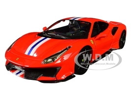 Ferrari 488 Pista Red White Blue Stripes 1/24 Diecast Model Car Bburago 26026