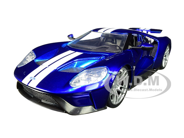 2017 Ford GT Candy Blue White Stripes Bigtime Muscle 1/24 Diecast Model Car Jada 99390