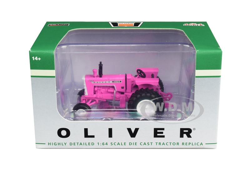 White Oliver 1955 Wide Front Tractor Pink 1/64 Diecast Model SpecCast SCT713