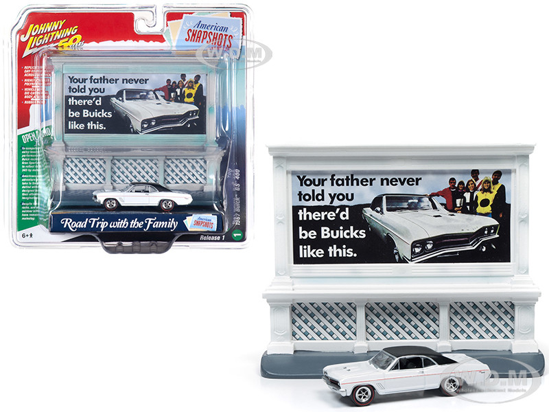1967 Buick GS 400 White Buick City Billboard Johnny Lightning 50th Anniversary 1/64 Diecast Model Car Johnny Lightning JLAC001