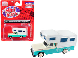 1960 Ford Camper Truck Turquoise White 1/87 HO Scale Model Car Classic Metal Works 30567