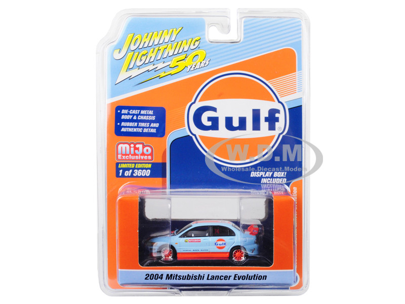 2004 Mitsubishi Lancer Evolution #74 Gulf Oil Johnny Lightning 50th Anniversary Limited Edition 3600 pieces Worldwide 1/64 Diecast Model Car Johnny Lightning JLCP7203