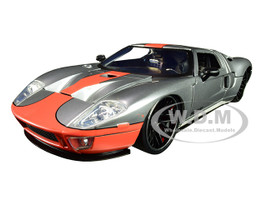2005 Ford GT Silver Orange Stripe Bigtime Muscle 1/24 Diecast Model Car Jada 31324