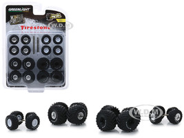 Firestone Wheel and Tire Multipack Kings of Crunch Set 24 pieces Wheel & Tire Packs Series 1 1/64 Greenlight 16010 A