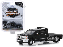 2018 Chevrolet Silverado 3500HD Dually Flatbed Truck Black Dually Drivers Series 1 1/64 Diecast Model Car Greenlight 46010 A