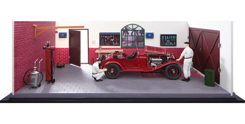 1930 Alfa Romeo 6C 1750 GS Red Two Mechanics Garage Workshop Diorama Limited Edition 200 pieces Worldwide 1/18 Diecast Model Car CMC A-015