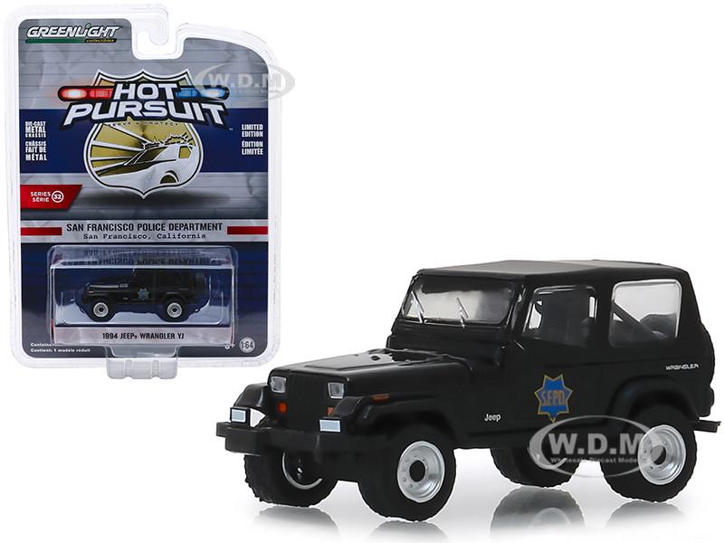1994 Jeep Wrangler YJ San Francisco Police Department SFPD Black Hot Pursuit Series 32 1/64 Diecast Model Car Greenlight 42890 D