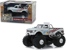 1970 Chevrolet K-10 Monster Truck USA-1 Legacy White 66-Inch Tires Kings of Crunch 1/43 Diecast Model Car Greenlight 88012