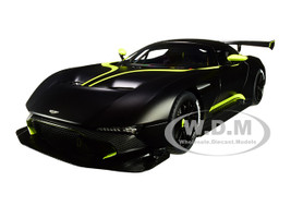 Aston Martin Vulcan Matt Black Lime Green Stripes 1/18 Model Car Autoart 70262