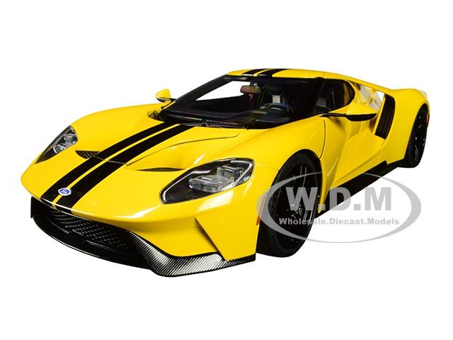 2017 Ford GT Triple Yellow Black Stripes 1/18 Model Car Autoart 72944