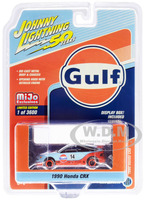 1990 Honda CRX #14 Gulf Oil Johnny Lightning 50th Anniversary Limited Edition 3600 pieces Worldwide 1/64 Diecast Model Car Johnny Lightning JLCP7198