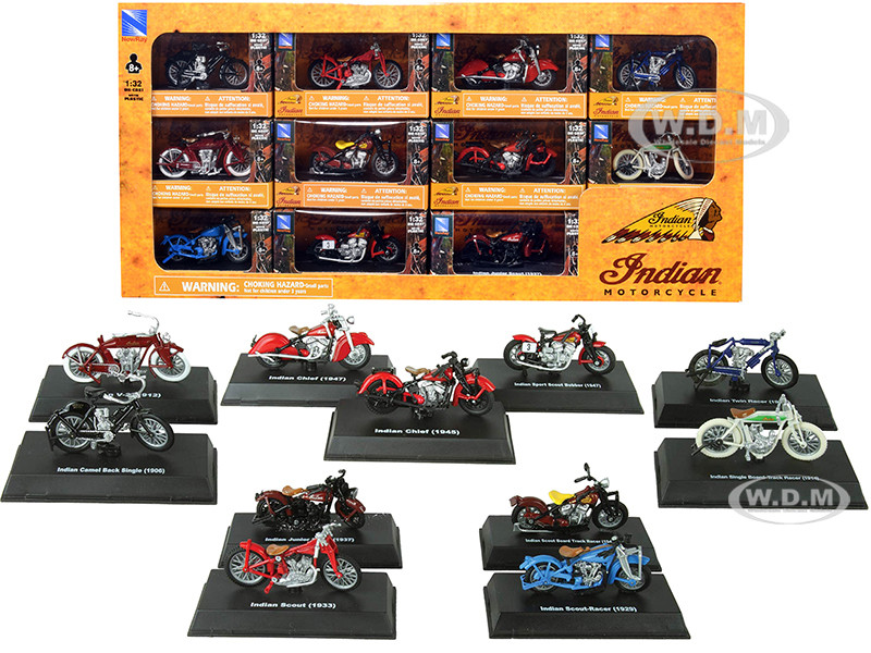 Indian Motorcycle Set of 11 pieces 1/32 Diecast Motorcycle Models New Ray SS-06065