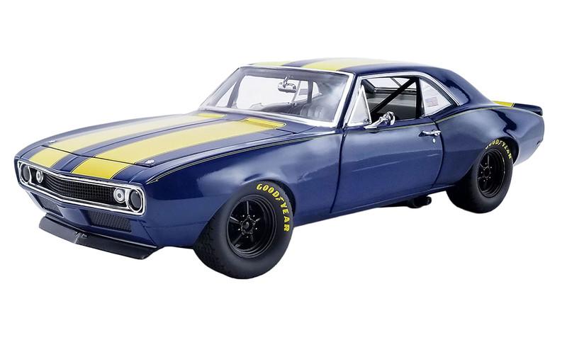 1967 Chevrolet Camaro Trans Am Dark Blue Yellow Stripes Limited Edition 168 pieces Worldwide 1/18 Diecast Model Car GMP 18909 B