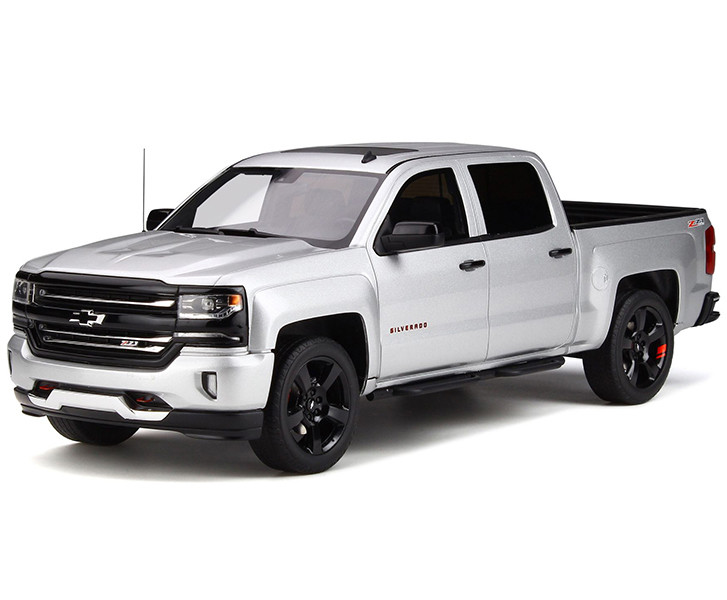 Chevrolet Silverado Z71 Pickup Truck Silver Ice Metallic Redline Edition 1/18 Model Car GT Spirit GT785