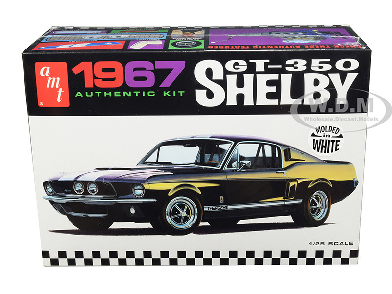 Skill 2 Model Kit 1967 Ford Mustang Shelby GT350 White 1/25 Scale Model AMT AMT800