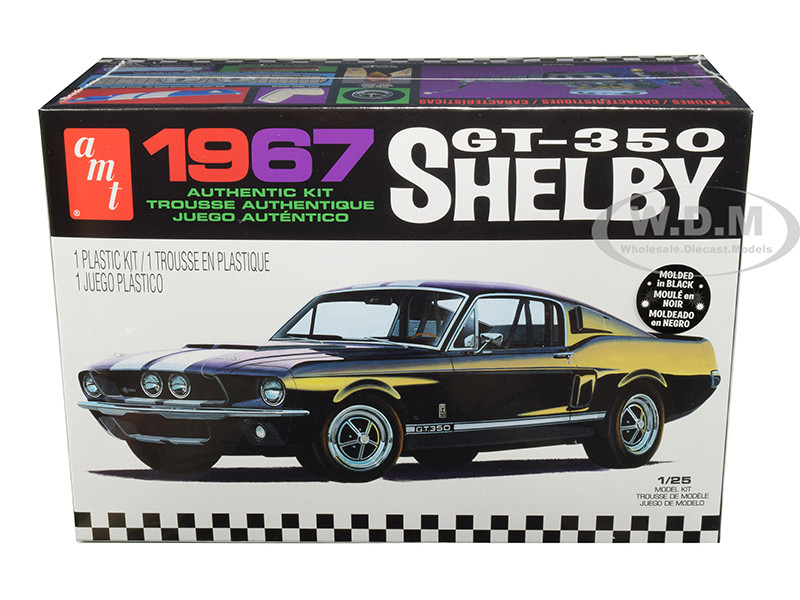 Skill 2 Model Kit 1967 Ford Mustang Shelby GT350 Black 1/25 Scale Model AMT AMT834 M