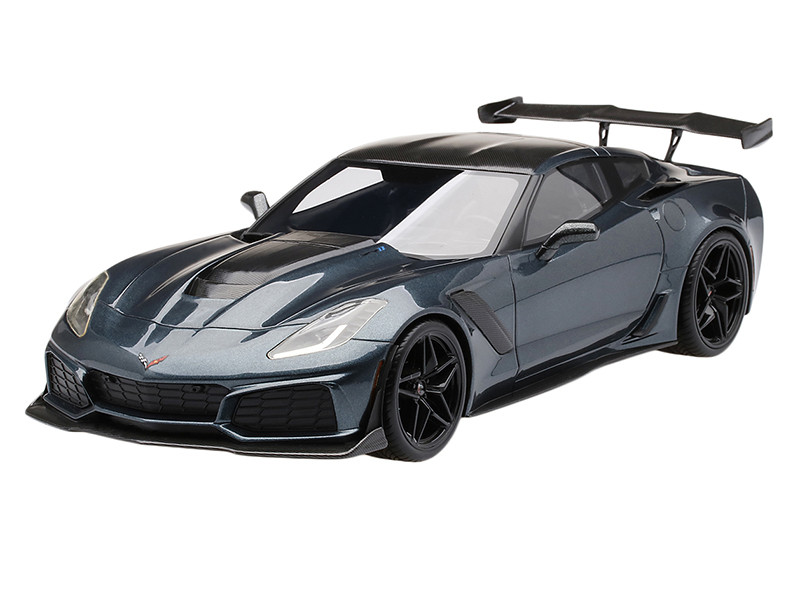 Chevrolet Corvette C7 ZR-1 Shadow Gray Metallic with Carbon Top 1/18 Model  Car by Top Speed