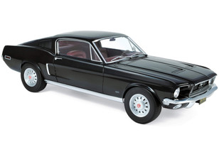 1968 Ford Mustang Fastback Black Burgundy Interior 1/12 Diecast Model Car Norev 122700
