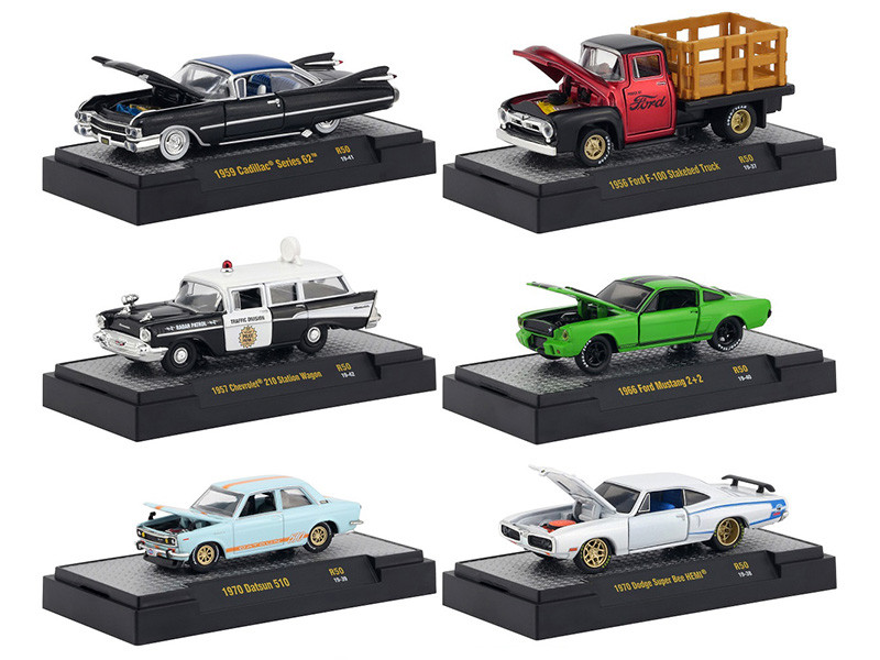 Auto Meets Release 50 Set of 6 Cars IN DISPLAY CASES 1/64 Diecast Model Cars M2 Machines 32600-50