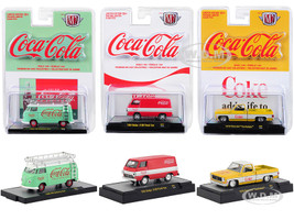 Coca Cola Release Set of 3 Cars Limited Edition 9600 pieces Worldwide Hobby Exclusive 1/64 Diecast Model Cars M2 Machines 52500-A01