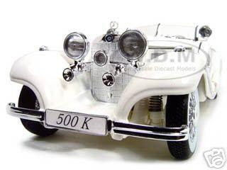 1936 Mercedes 500K Special Roadster White 1/18 Diecast Model Car Maisto 36055
