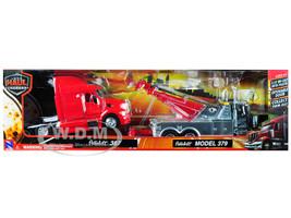 Peterbilt 379 Tow Truck Black Peterbilt 387 Truck Tractor Red Set 2 pieces 1/32 Diecast Models New Ray 12053 A