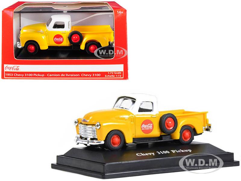 1953 Chevrolet 3100 Pickup Truck Coca Cola Yellow White Top 1/72 Diecast Model Car Motorcity Classics 472002