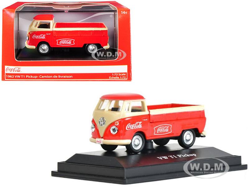 1962 Volkswagen T1 Pickup Truck Coca Cola Red Cream 1/72 Diecast Model Car Motorcity Classics 472003