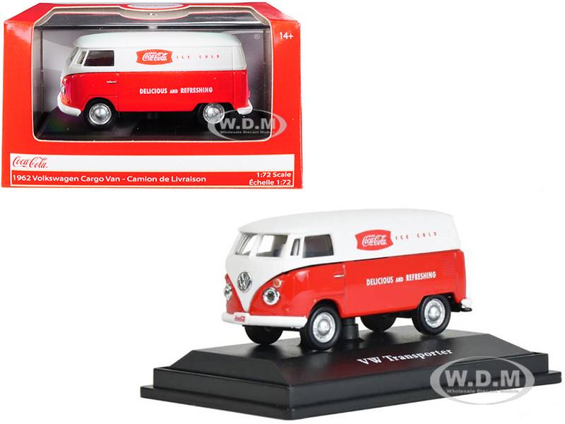 1962 Volkswagen Transporter Cargo Van Coca Cola Red White 1/72 Diecast Model Motorcity Classics 472004