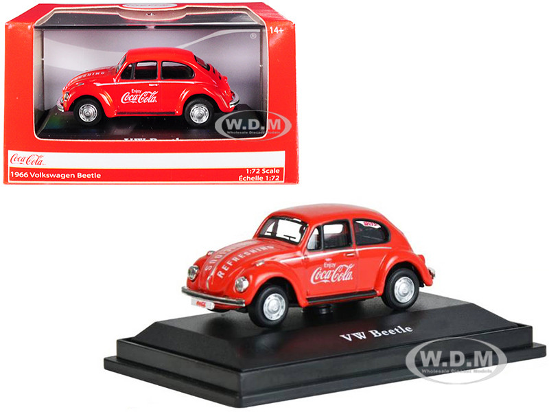 1966 Volkswagen Beetle Coca Cola Red 1/72 Diecast Model Car Motorcity Classics 472005