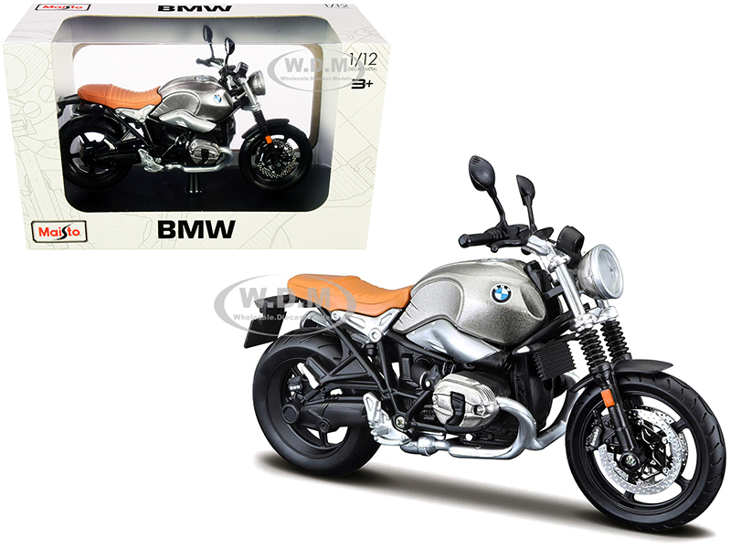 BMW R nineT Scrambler Meatllic Gray Plastic Display Stand 1/12 Diecast Motorcycle Model Maisto 18834-32701