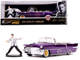 1956 Cadillac Eldorado Convertible Purple Elvis Presley Diecast Figurine 1/24 Diecast Model Car Jada 30985