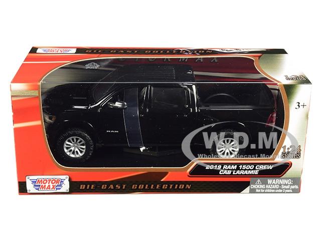 2019 RAM LARAMIE 1500 CREW CAB PICKUP TRUCK BLACK 1//24 DIECAST BY MOTORMAX 79357