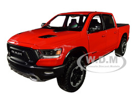 2019 Dodge Ram 1500 Crew Cab Rebel Pickup Truck Red 1/24 Diecast Model Car Motormax 79358