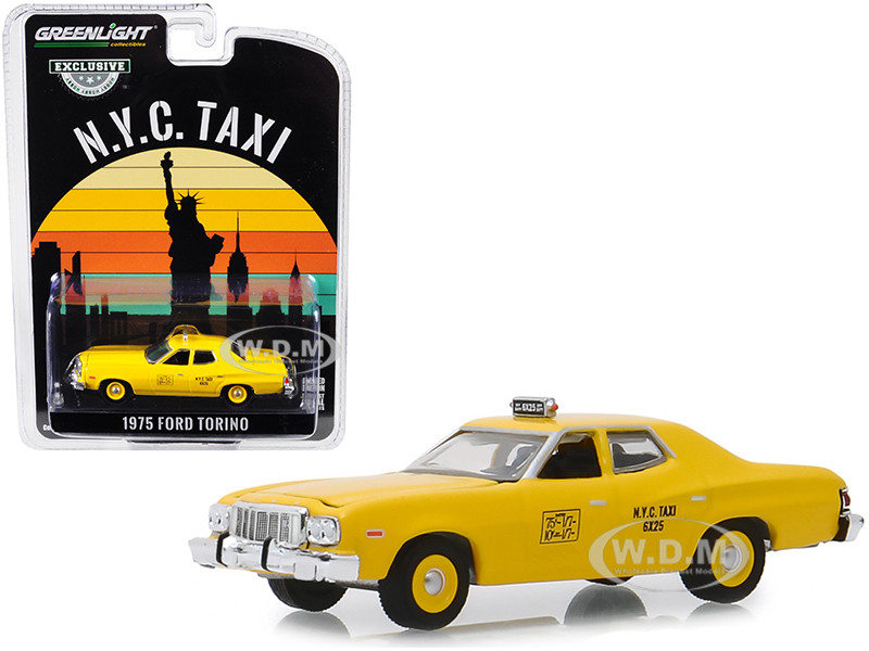 1975 Ford Torino Yellow NYC Taxi New York City Taxi Hobby Exclusive 1/64 Diecast Model Car Greenlight 30058