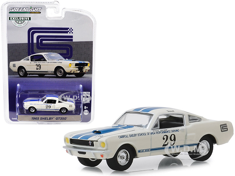 1965 Shelby GT350 #29 White Blue Stripes Carroll Shelby School of High Performance Driving Hobby Exclusive 1/64 Diecast Model Car Greenlight 30064