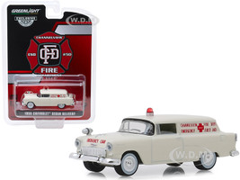 1955 Chevrolet Sedan Delivery Cream Channelview Texas Fire Department Volunteer Emergency Car Hobby Exclusive 1/64 Diecast Model Car Greenlight 30071