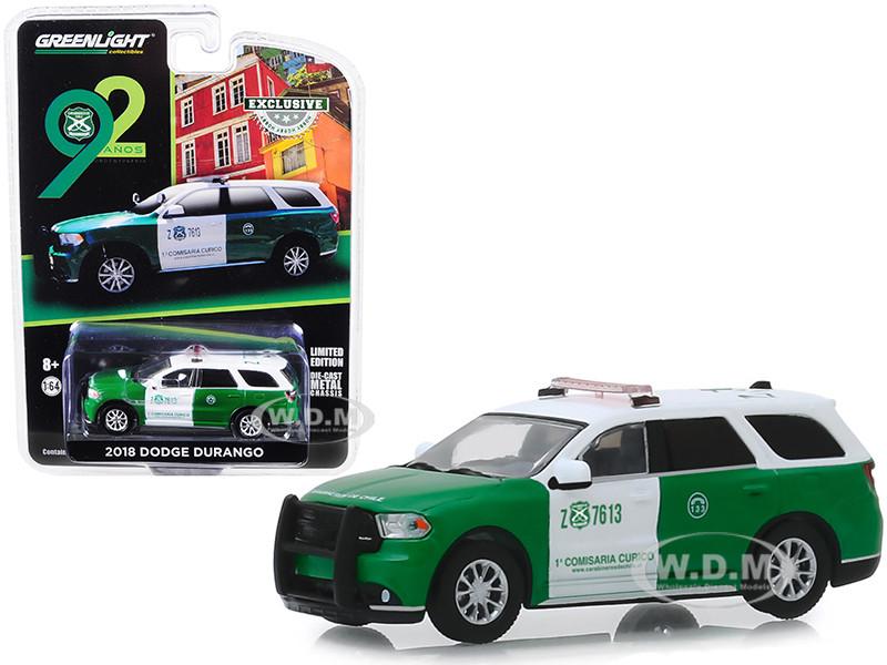 2018 Dodge Durango Police Carabineros de Chile 92th Anniversary Hobby Exclusive 1/64 Diecast Model Car Greenlight 30079