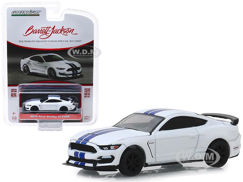 2015 Ford Mustang Shelby GT350R White Blue Stripes VIN #001 Lot #3008 Barrett Jackson Scottsdale Edition Series 4 1/64 Diecast Model Car Greenlight 37180 F