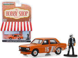 1970 Datsun 510 4-Door Sedan #15 Orange Race Car Driver Figurine The Hobby Shop Series 7 1/64 Diecast Model Car Greenlight 97070 D