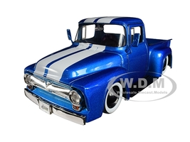 1956 Ford F-100 Pickup Truck Metallic Light Blue White Stripes Extra Wheels Just Trucks Series 1/24 Diecast Model Car Jada 31541