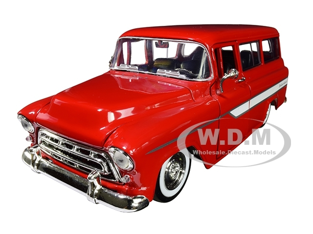 1957 Chevrolet Suburban Red White Stripes Extra Wheels Just Trucks Series 1/24 Diecast Model Car Jada 96986