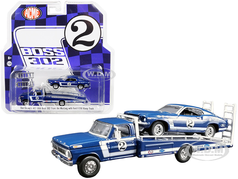 Ford F-350 #2 Ramp Truck Blue 1969 Ford Mustang Boss 302 Trans Am #2 Blue Dan Gurney's Acme Exclusive 1/64 Diecast Model Cars Greenlight ACME 51268