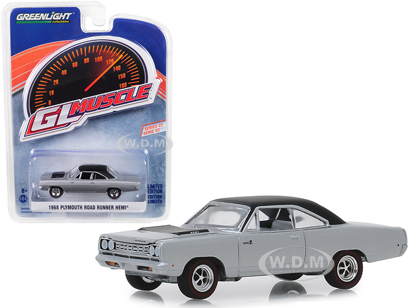 1968 Plymouth Road Runner Hemi Buffed Silver Black Top Greenlight Muscle Series 22 1/64 Diecast Model Car Greenlight 13250 B