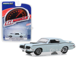 1970 Mercury Cougar Eliminator Pastel Blue Black Stripes Greenlight Muscle Series 22 1/64 Diecast Model Car Greenlight 13250 C